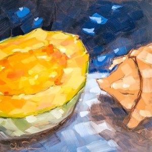"Christina Johnson ""Melon Diving"" 8x8 oil $150."