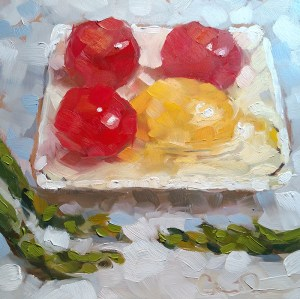 "Christina Johnson ""Odd Angles"" 8x8 oil $150."