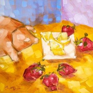 "Christina Johnson ""Sacred Strawberry Lemonade"" 8x8 oil $150."