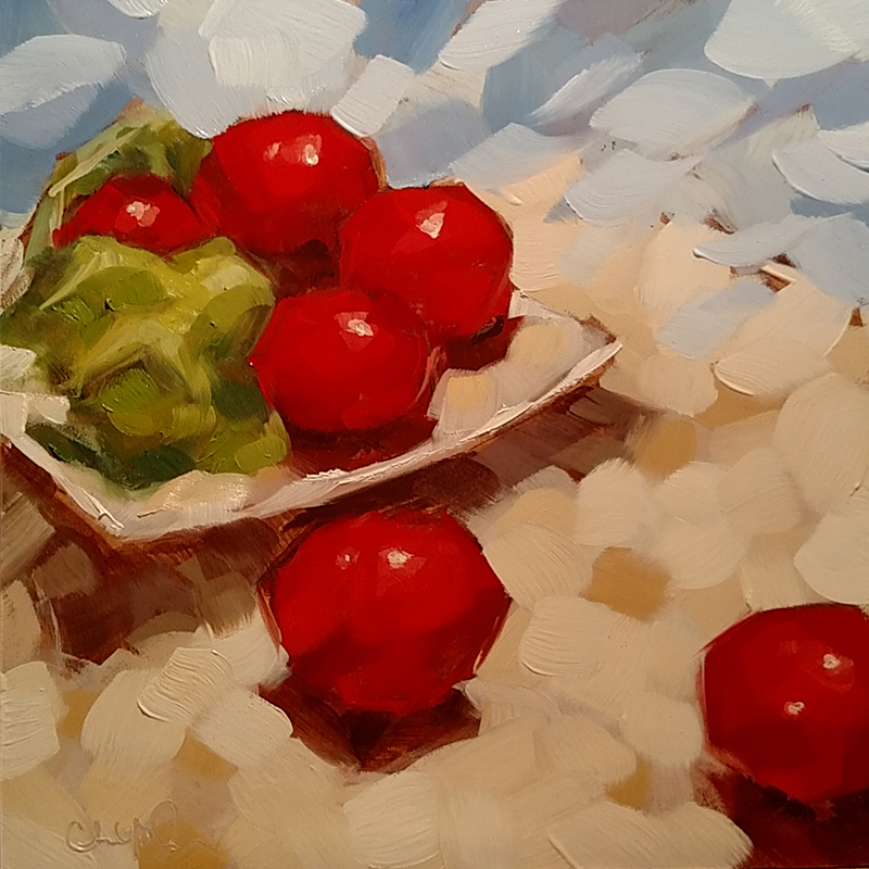 "Christina Johnson ""Sauce Prep"" 8x8 oil $150."