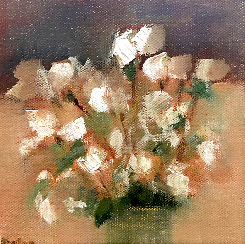 "Ileen Kaplan ""Autumn Flowers"" 6x6 oil $295."