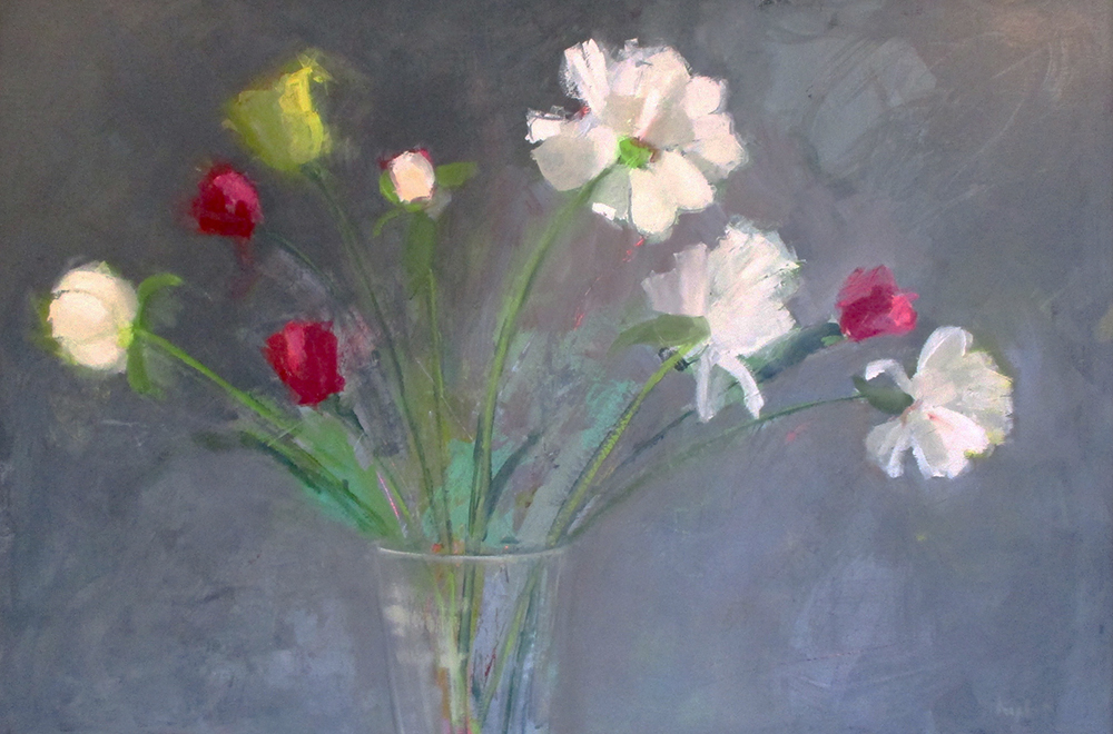 "Ileen Kaplan ""Bouquet with White Peonies"" 24x36 oil $1,200."