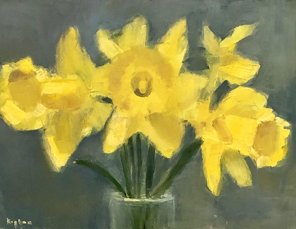 """Ileen Kaplan """"Daffodils"""" 6x8 oil $325."""