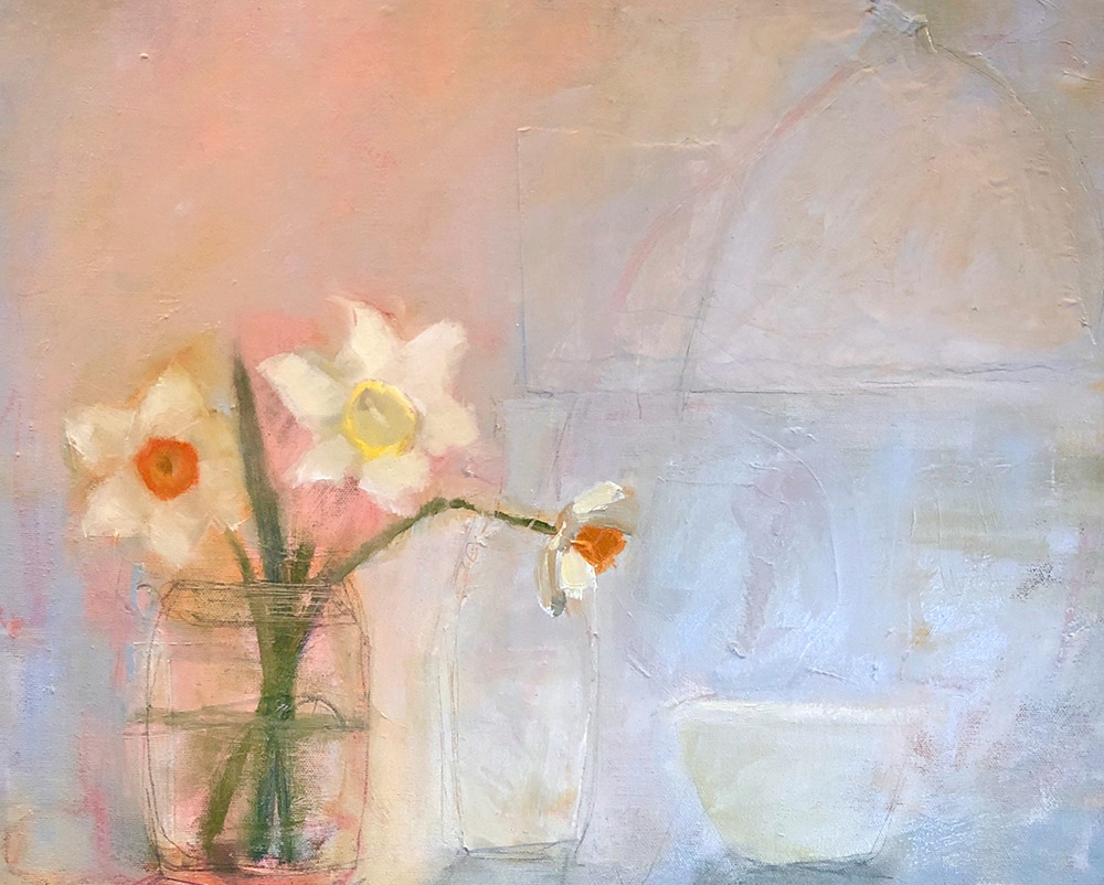 "Ileen Kaplan ""Flowers on the Kitchen Counter I"" 16x20 oil $950."