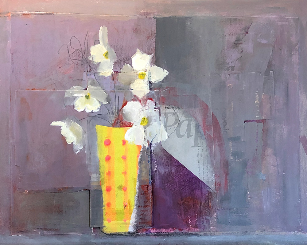 "Ileen Kaplan ""Flowers on the Kitchen Counter II"" 16x20 oil/mixed media $950."
