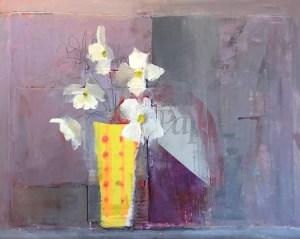 """Ileen Kaplan """"Flowers on the Kitchen Counter II"""" 16x20 oil/mixed media $950."""