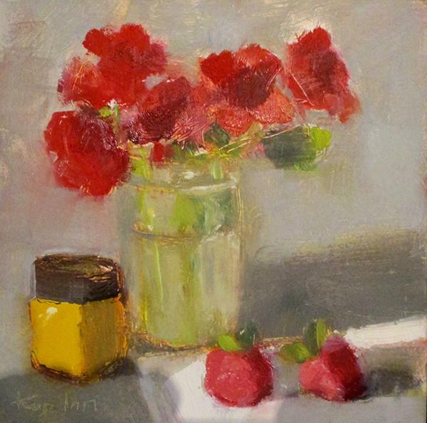 "Ileen Kaplan ""Geraniums and Strawberries"" 6x6 oil $285."