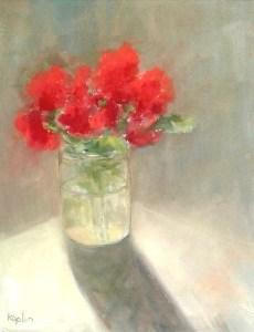 "Ileen Kaplan ""Geraniums in Morning Light"" 14x11 oil $585."