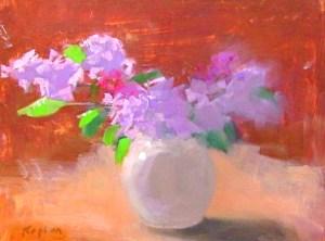 """Ileen Kaplan """"Lilacs in a Round Vase"""" 9x12 oil $425."""