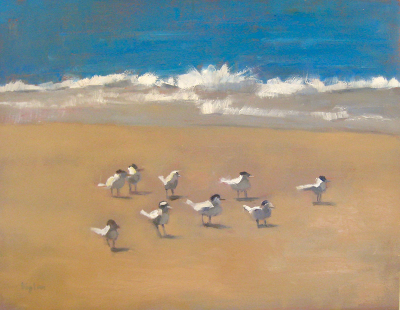 "Ileen Kaplan ""Meeting at the Shore"" 11x14 oil $600."