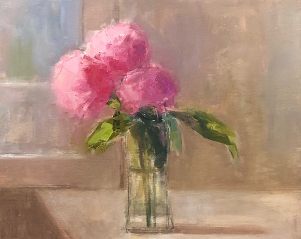 """Ileen Kaplan """"Peonies in the Window"""" (inquire on size) oil $925. SOLD"""