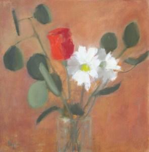 "Ileen Kaplan ""Rose and Daisies"" 12x12 oil $585."