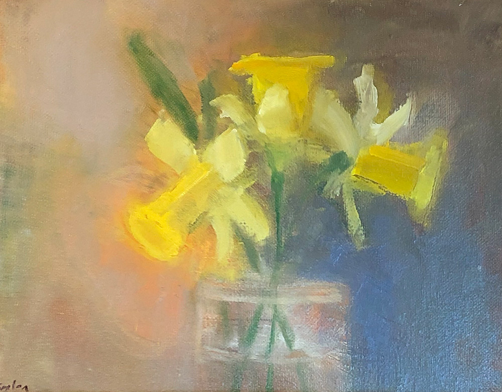 "Ileen Kaplan ""Three Daffodils in Morning Light"" 8x10 oil $425."