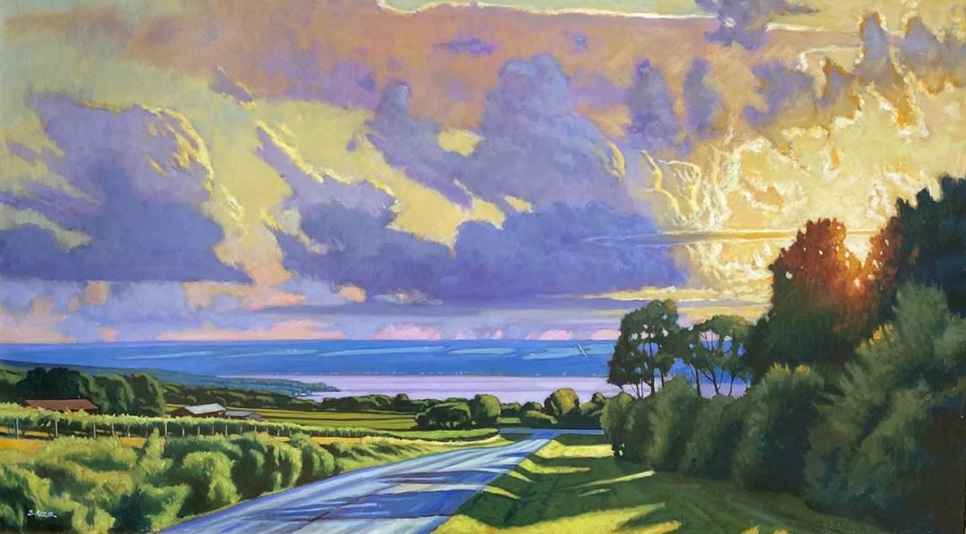 """Brian Keeler """"Keuka Summer Evening"""" 34x60 oil $8,400."""