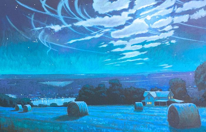 "Brian Keeler ""Lunadelic Topography - Seneca Lake"" 28x42 oil $4,400."