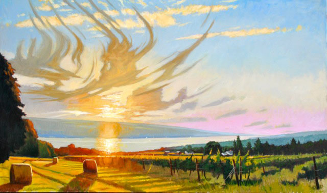 "Brian Keeler ""Mid-August Evening Over Seneca Lake"" 36x60 oil unframed $8,400. SOLD"