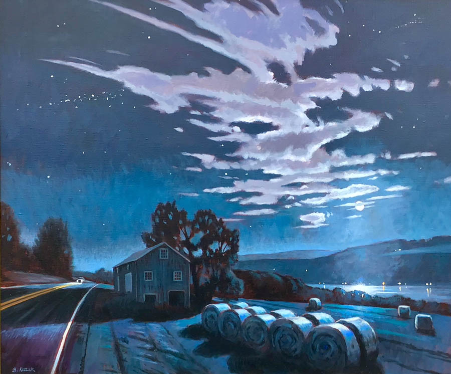 """Brian Keeler """"Moonlit Bales Over Keuka"""" 30x36 oil $3,400."""