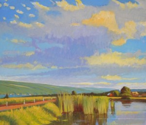 "Brian Keeler ""Over Keuka, Pond Reeds"" 26x30 oil $2,800."