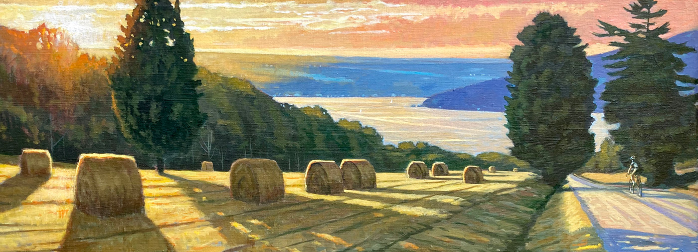 "Brian Keeler ""Ride to the Lake - Keuka August Eve"" 18x48 oil $3,800."