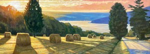 """Brian Keeler """"Ride to the Lake - Keuka August Eve"""" 18x48 oil $3,800."""