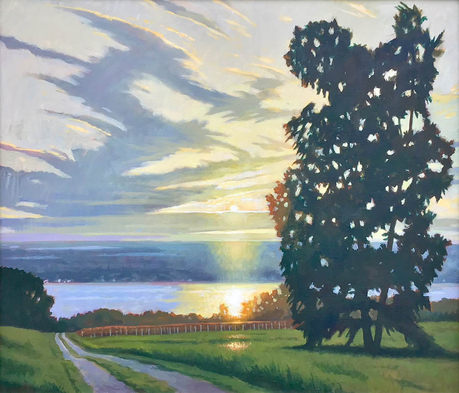 """Brian Keeler """"Seneca June Evening - Van Buskirk Rd - Valois NY"""" 26x30 oil $2,800."""
