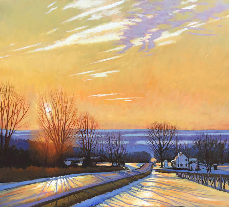 "Brian Keeler ""Seneca Winter Evening - Searsburg Road"" 26x30 oil/linen $2,800. Inquire*"