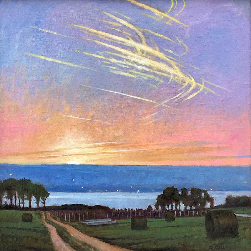 "Brian Keeler ""Soaring Seneca Spring Clouds"" 18x20 oil/linen $2,800."