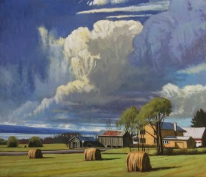 "Brian Keeler ""Spring Clouds Over Seneca"" 26x30 oil $2,800."