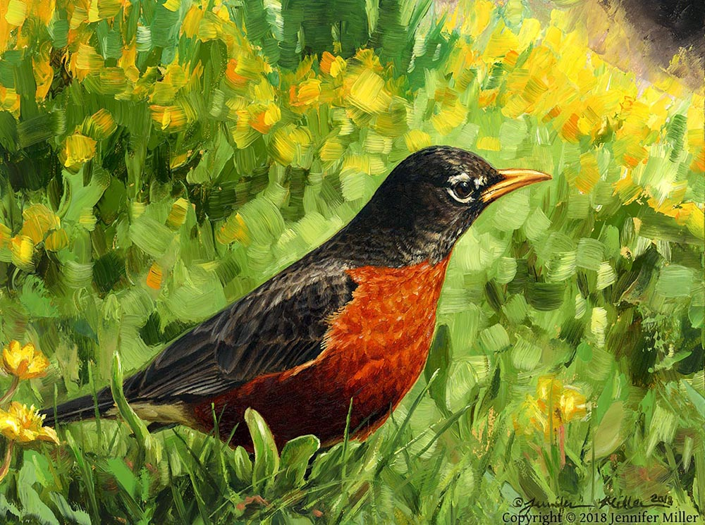 "Jennifer Miller ""Early Bird"" 6x8 oil $480. SOLD"