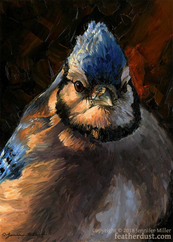 "Jennifer Miller ""Evening Light"" (Blue Jay) 7x5 oil $350."