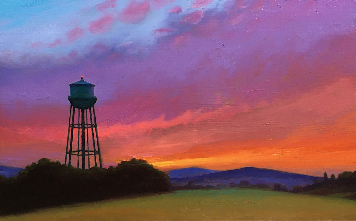 "Joseph A. Miller ""Evening and the Water Tower"" 7.25x11.25 oil/panel $600."