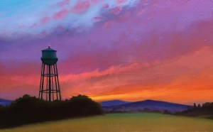 """Joseph A. Miller """"Evening and the Water Tower"""" 7.25x11.25 oil/panel $600."""