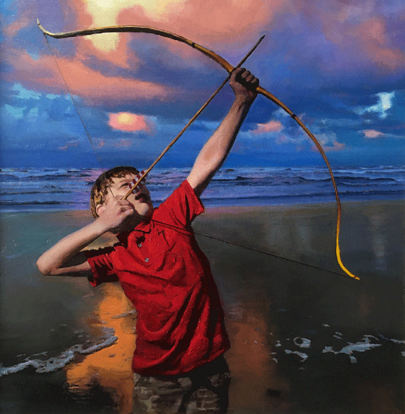 "Joseph A. Miller ""Archer"" 13x13 oil/paper/panel $1,400. SOLD"