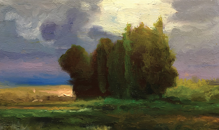"Joseph A. Miller ""Clearing"" 5x8.25 oil on panel $500."