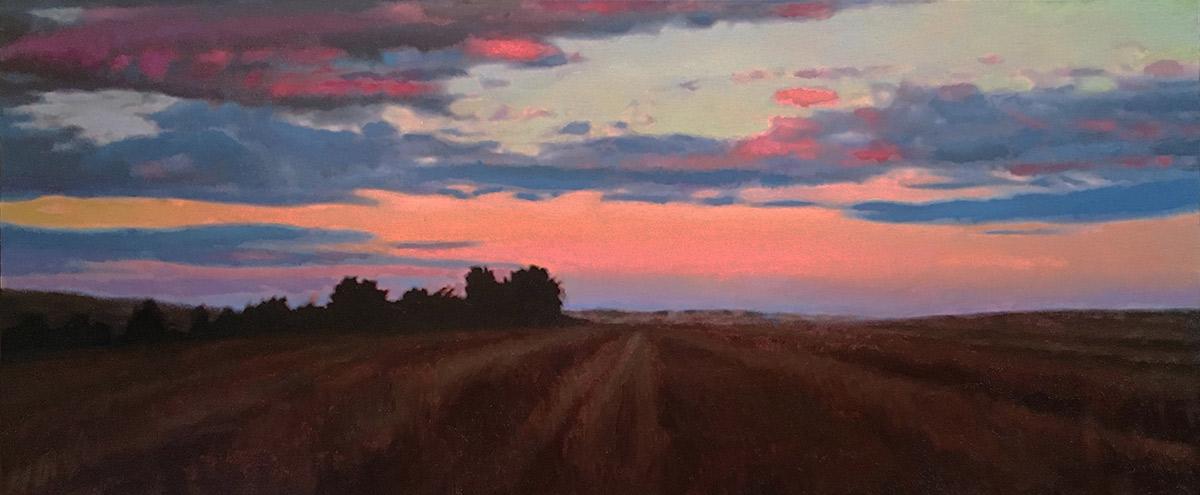"""Joseph A. Miller """"Evening III"""" 8x18 oil/panel $1,400."""