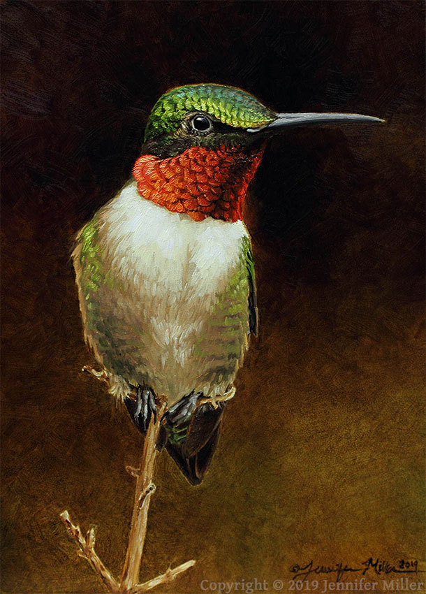 "Jennifer Miller ""Tiny Watchtower - Ruby-Throated Hummingbird"" 7x5 oil $375."