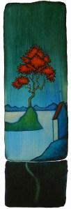"""GC Myers """"Blue Moment"""" 19x6 acrylic/paper $ Inquire"""