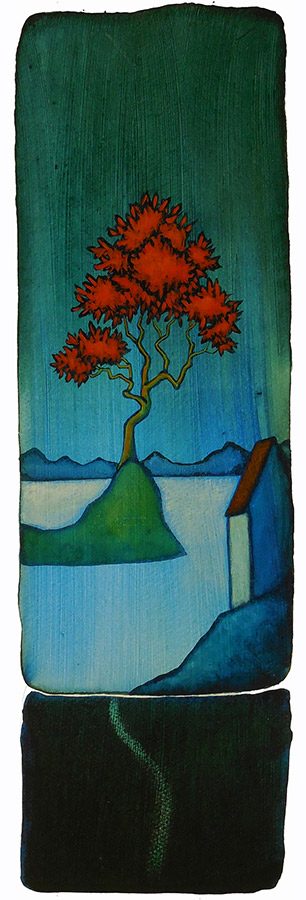"GC Myers ""Blue Moment"" 19x6 acrylic/paper $ Inquire"