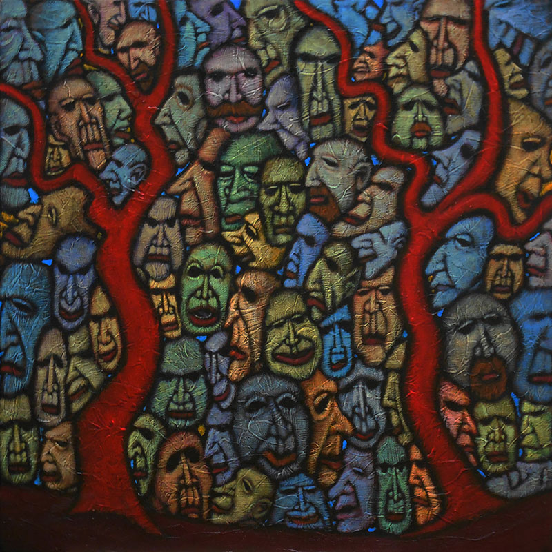 "GC Myers ""Faces from the Wood"" 20x20 acrylic/canvas $ Inquire"
