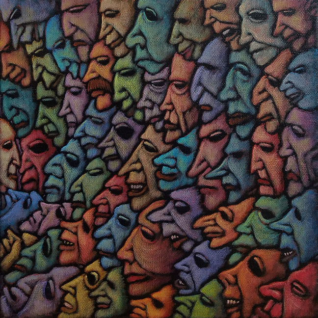 """GC Myers """"Facing the Crowd"""" 12x12 acrylic/canvas $ Inquire"""