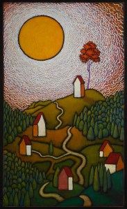 """GC Myers """"In These Times"""" 36x22 acrylic/wood panel $ Inquire"""