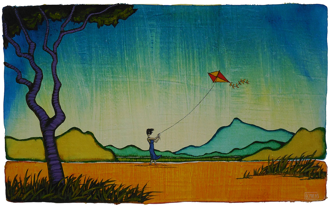 "GC Myers ""Let's Go Fly a Kite"" 9x15 acrylic/paper $ Inquire"