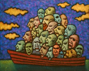 "GC Myers ""Soul Boat"" 16x20 acrylic/canvas $ Inquire"