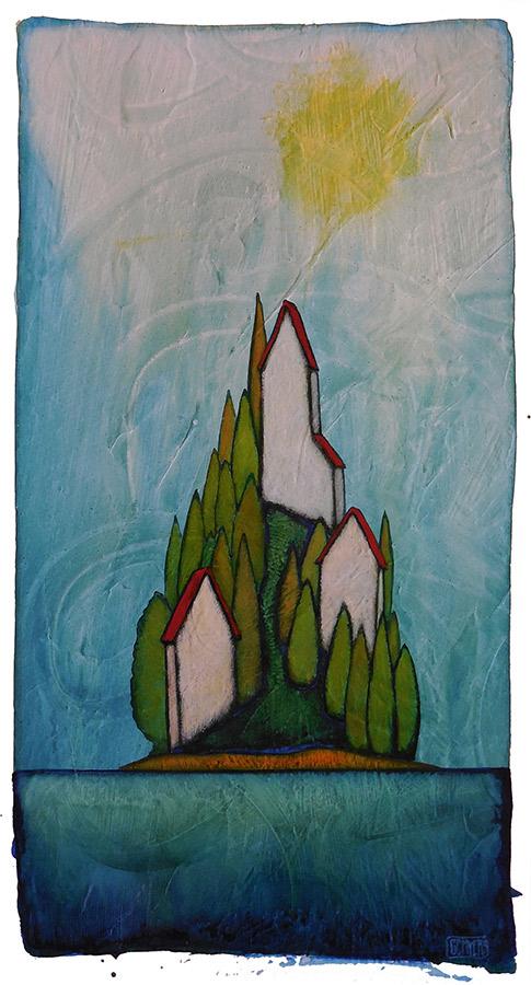 "GC Myers ""Trinity Isle"" 13x7 acrylic/paper $ Inquire"
