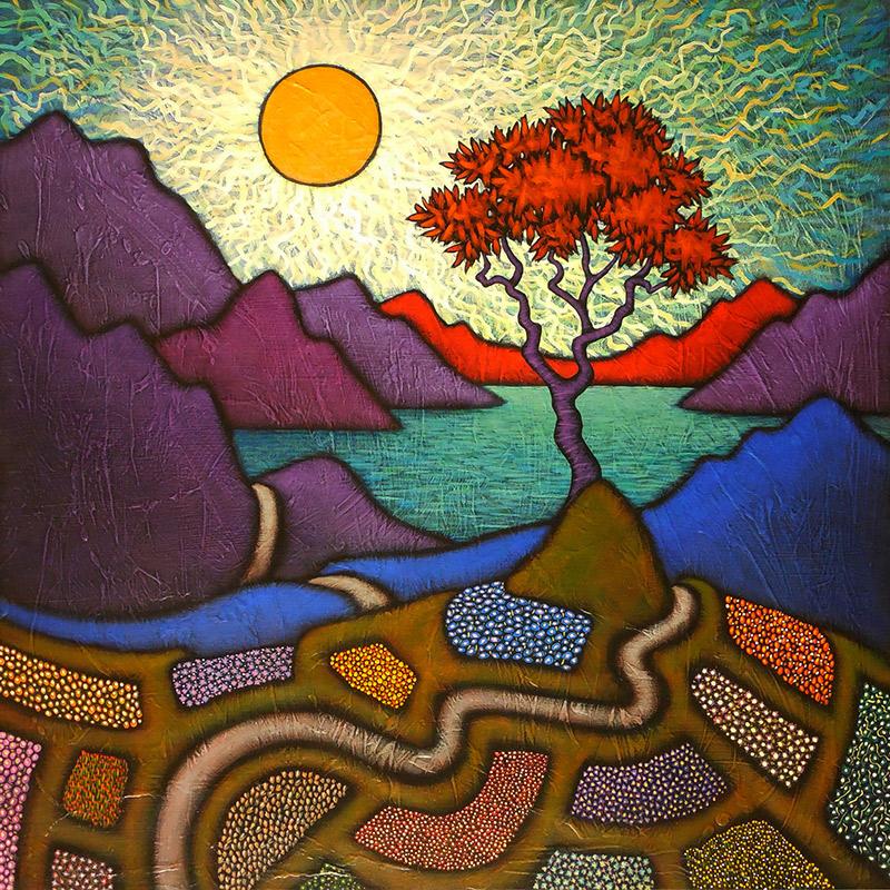 "GC Myers ""World O'Wonder"" 36x36 acrylic/canvas SOLD"