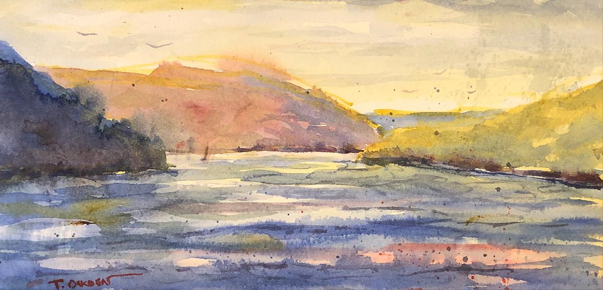 """Terry Oakden """"Before Sunset - Keuka"""" 6x12 watercolor $150. unframed"""