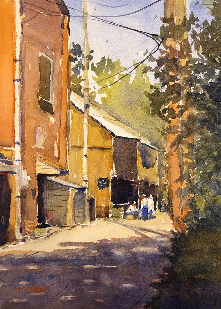 """Terry Oakden """"Break Time"""" 13x9 watercolor $200. unframed"""