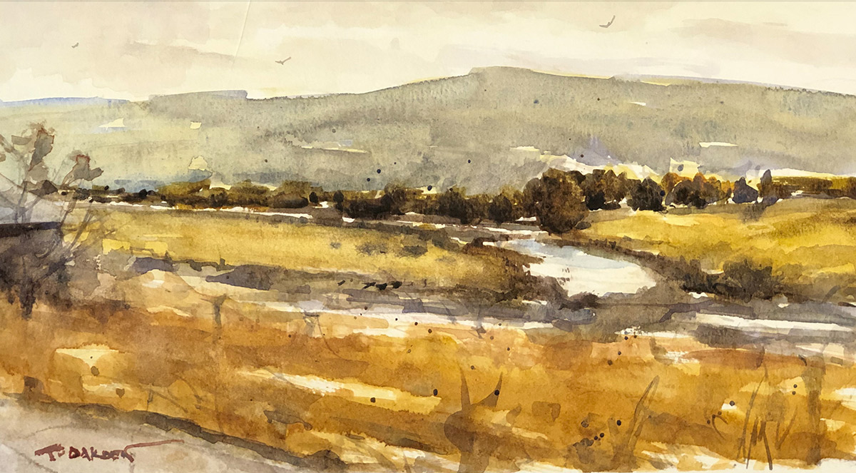 """Terry Oakden """"River in the Valley"""" 7x13 watercolor $425. framed"""