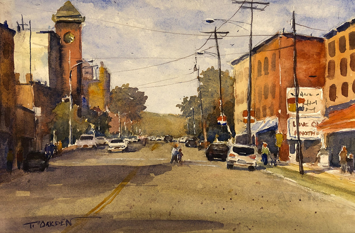 """Terry Oakden """"Small Town Saturday"""" 8x13 watercolor $200. unframed"""