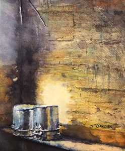 """Terry Oakden """"Stock in the Pot"""" 8x7 watercolor $425. framed SOLD"""